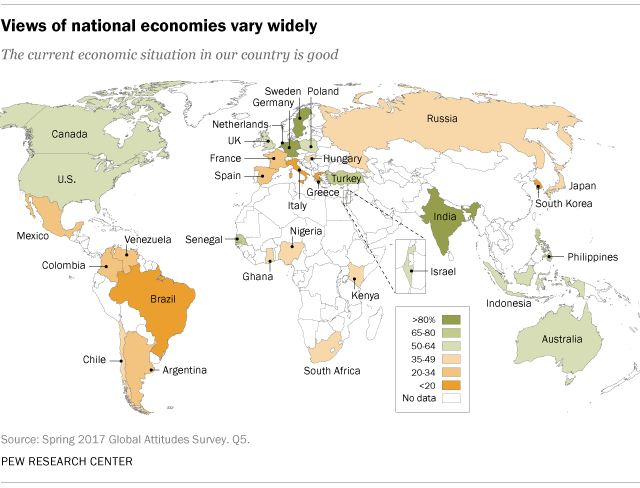 Global publics more upbeat about the economy